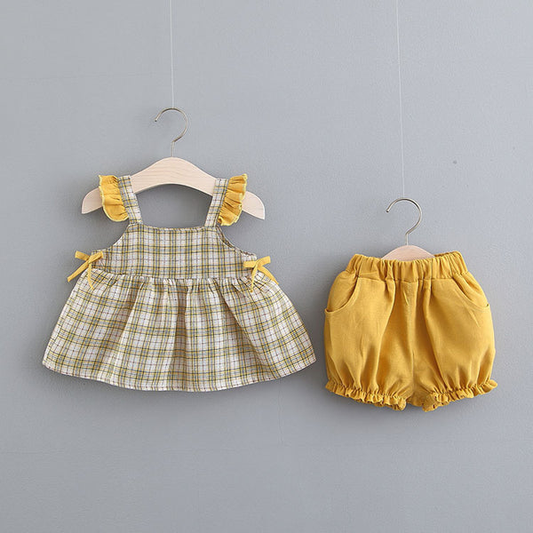 Plaided Sleeveless Pleated Summer Set