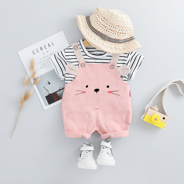 Striped Tshirt And Dungaree Set