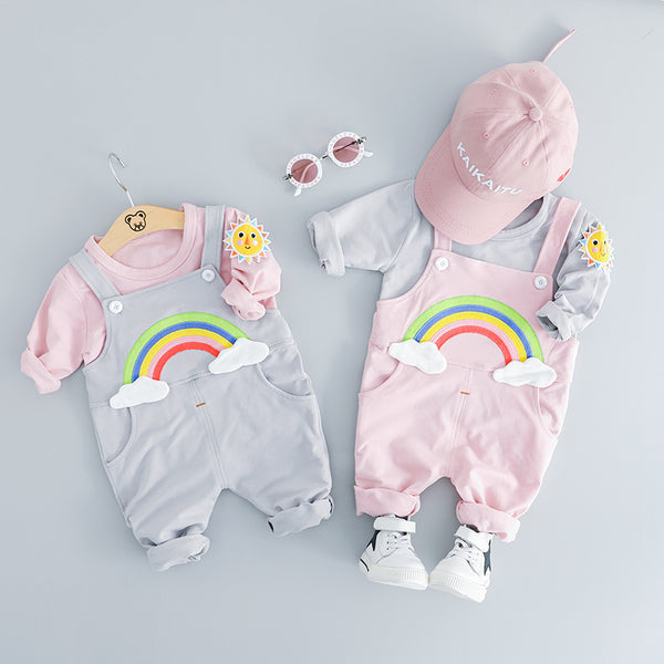 Rainbow Dungaree With Tshirt Set