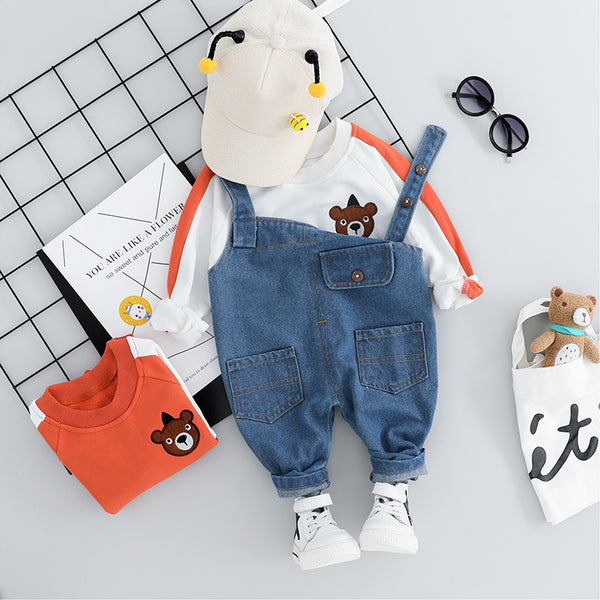 Bear Sweatshirt And Dungaree Set