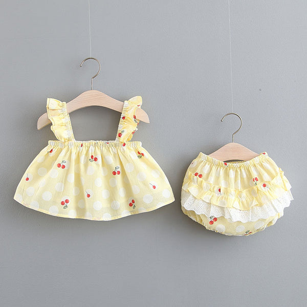 Cherry And Polka Dot Printed Bloomer Sets