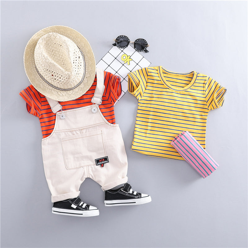 Striped Tee And Dungaree Summer Set