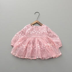 Embroidered Long Sleeves Dress For Baby Girls