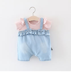 Ruffle Bow Dungaree And Tshirt Set