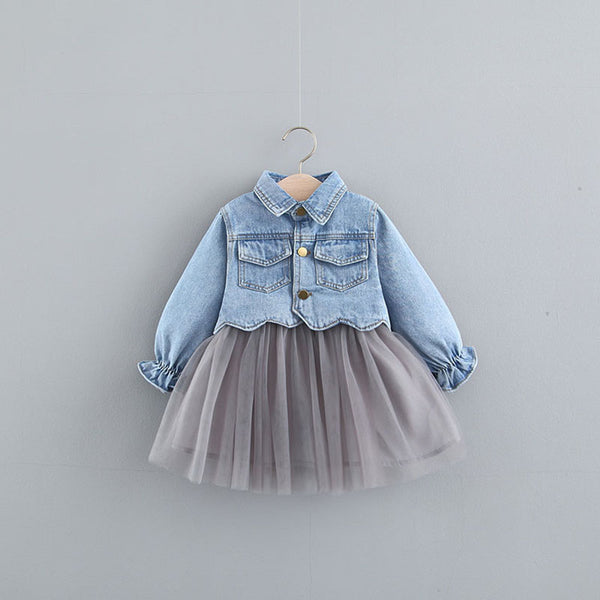 Duck Printed Dress With Denim Jacket