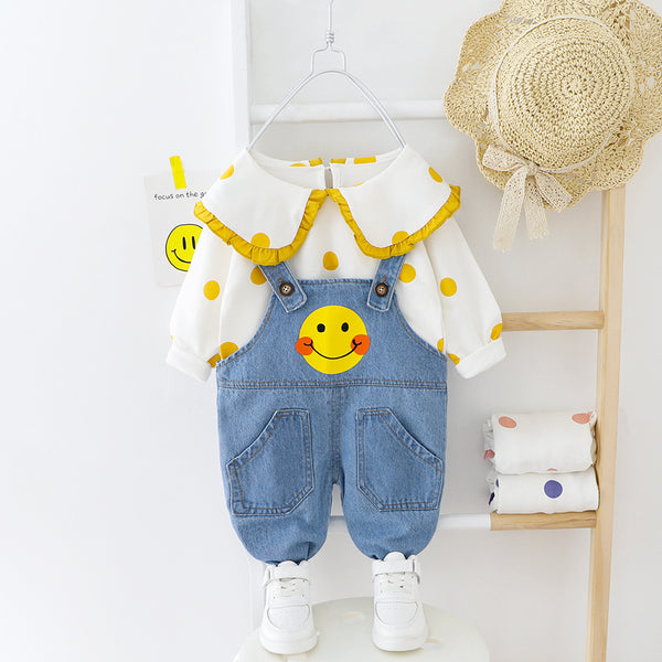 Polka Dotted Top And Denim Dungaree Set
