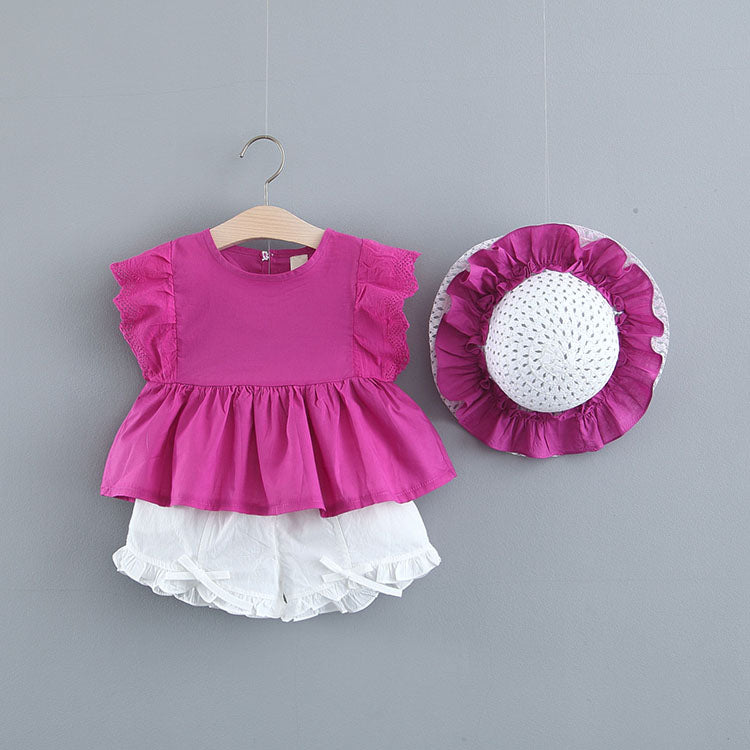 Eyelet Sleeves Baby Girl Set With Cap