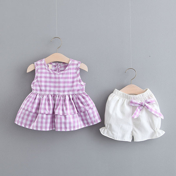 Plaided And Pleated Top And Shorts Set