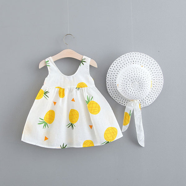 Fruit Printed Summer Dress With Hat