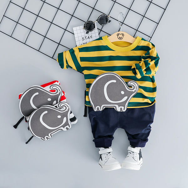 Elephant Made Striped Sweatshirt Baby Set