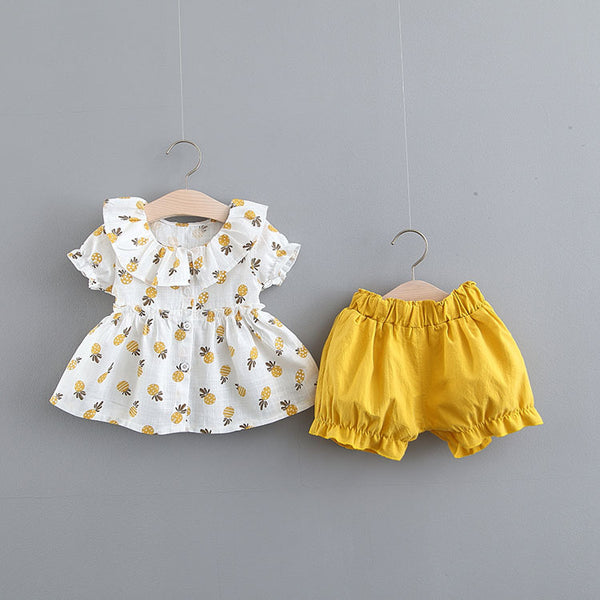 Pineapple Printed Buttoned Summer Set