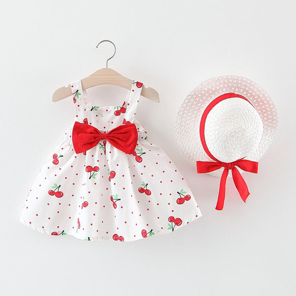 Cherry Printed Summer Set With Hat