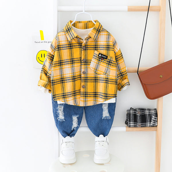 Checkered Shirt And Rugged Denim Set