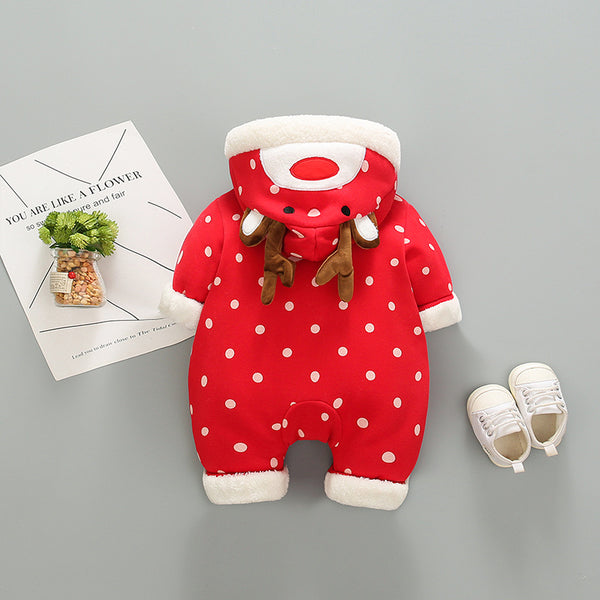 Polka Dots Printed Reindeer Hooded Winter Jumpsuit