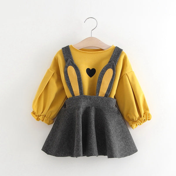 Rabbit Ear Suspender Skirt With Long Sleeves Tshirt