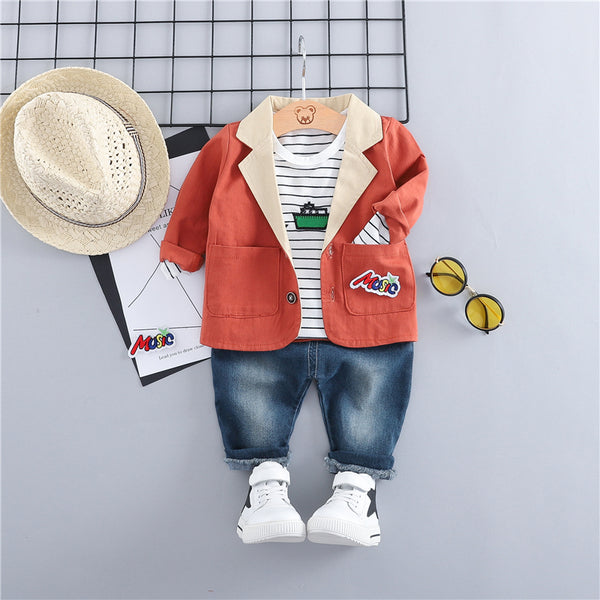 Contrast Collar Jacket With Tshirt And Denim Set