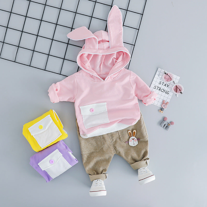 Rabbit Ear Hooded Sweatshirt Baby Set