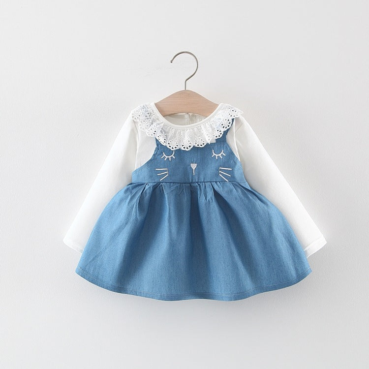 Cat Made Denim Dress With Eyelet Collar