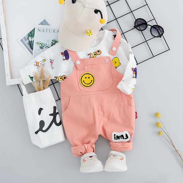 Zoo Printed Sweatshirt And Dungaree Set