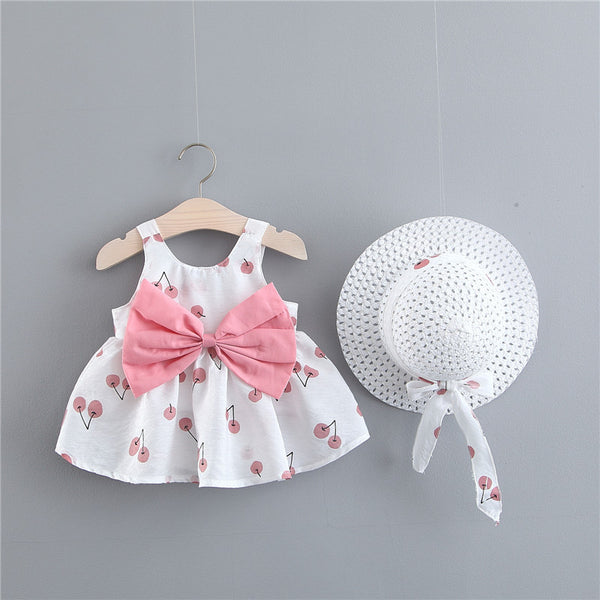 Cherry Printed Big Bow Dress With Hat