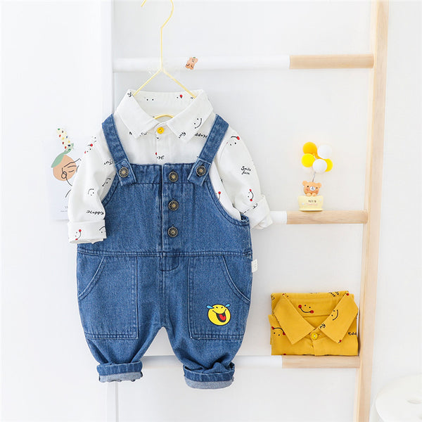 Printed Shirt And Denim Dungaree Set