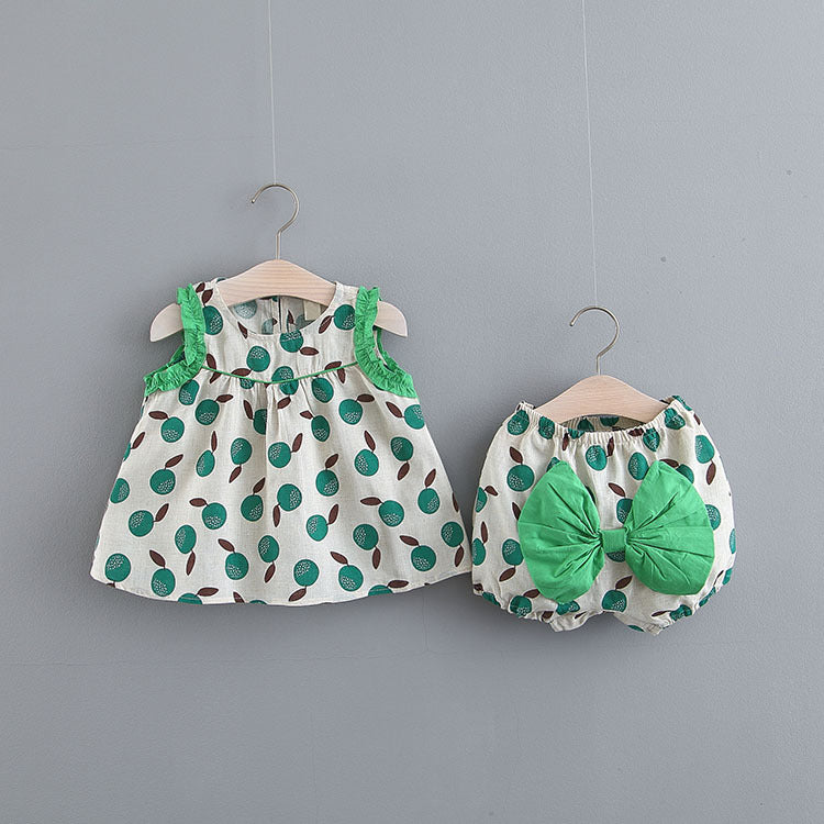 Peach Printed Bow Bloomer Set
