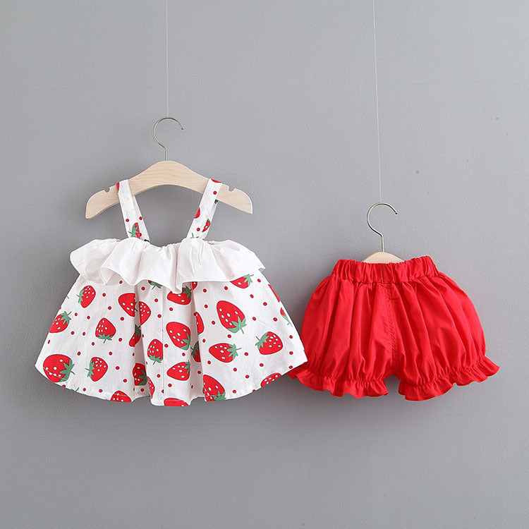 Strawberry Printed Strap Summer Set