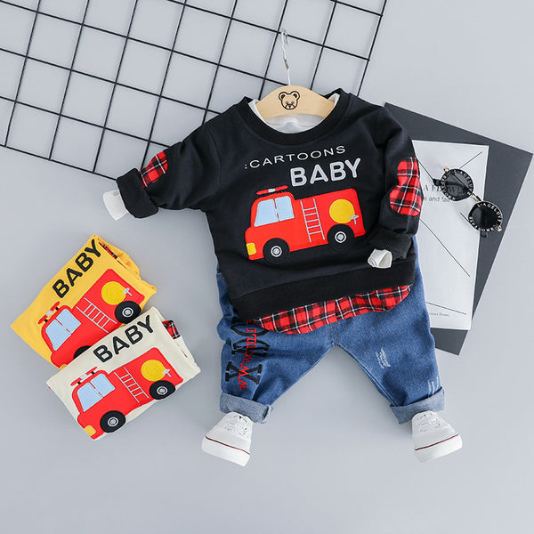 Car Printed Sweatshirt Baby Set