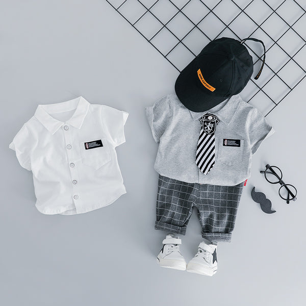 Plaided Shorts And Shirt Summer Set