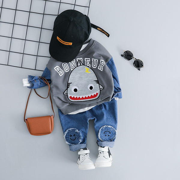Shark Printed Sweatshirt Baby Set