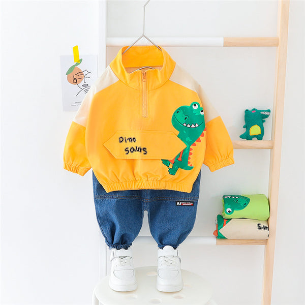 Dino Zipper Sweatshirt And Denim Set