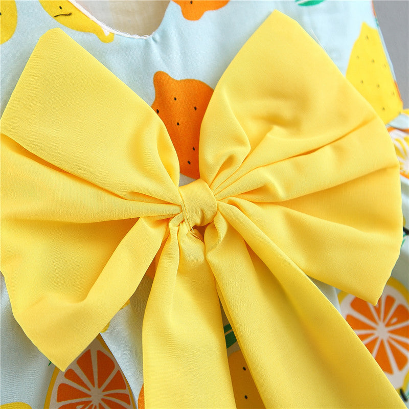 Fruit Printed Bow Summer Dress