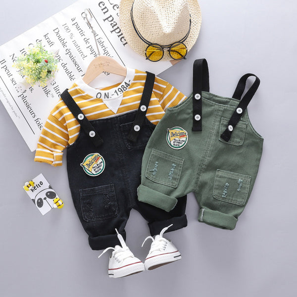 Striped Sweatshirt And Rugged Dungaree Set