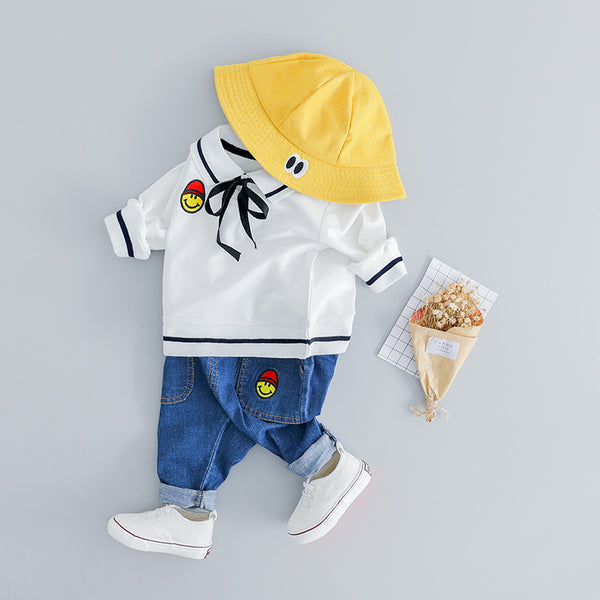 Smiley Made Polo Sweatshirt Baby Set