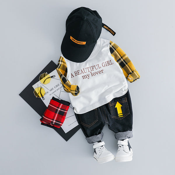 Checks Sleeves Quoted Sweatshirt Baby Set