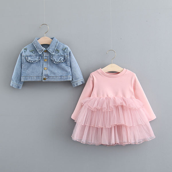 Frill Dress With Denim Jacket