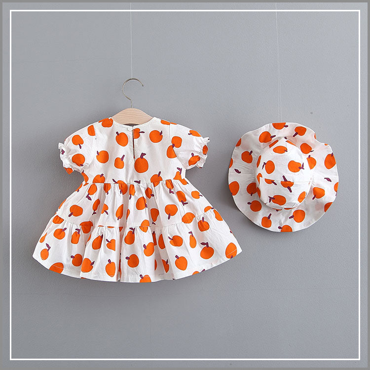 Peach Printed Summer Dress With Hat