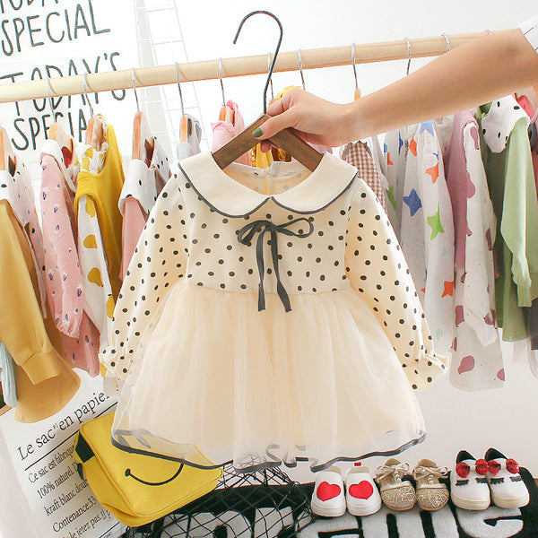 Bow Knot Polka Dotted Net Dress