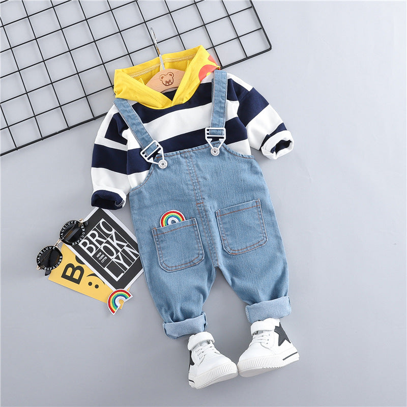 Hooded Striped Sweatshirt With Denim Dungaree