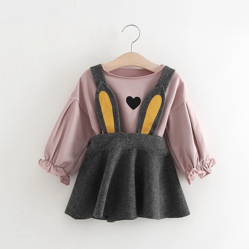Rabbit Overall Dress With Tshirt