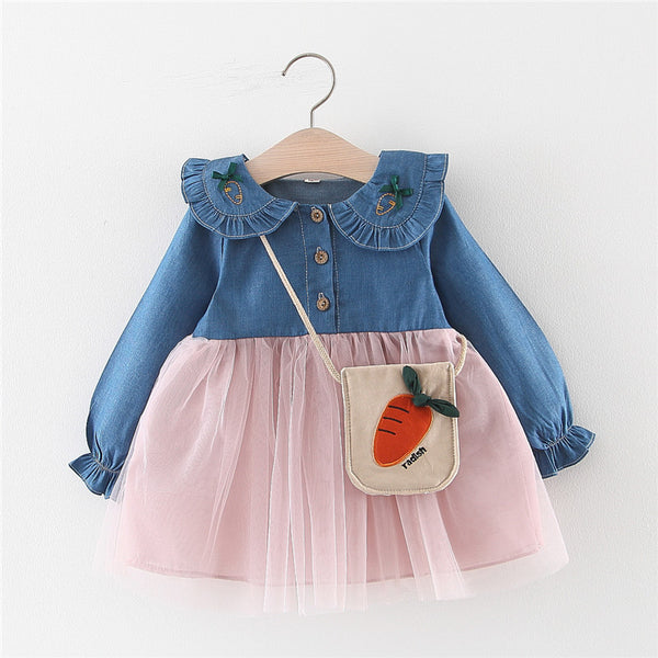 Half Denim Carrot Collar Dress