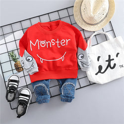 Monster Sweatshirt And Denim Baby Set