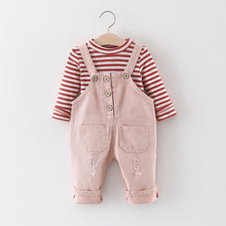 Rugged Dungaree And Striped Tshirt Set