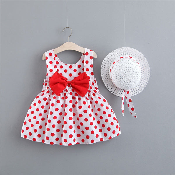 Polka Dot Printed Bow Dress With Hat