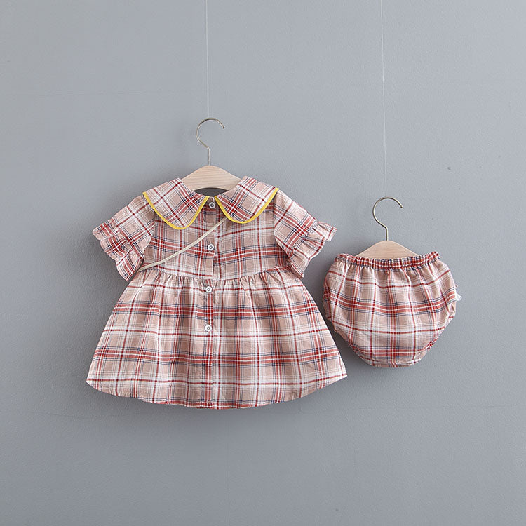 Plaided Bloomer Set With Sling Bag