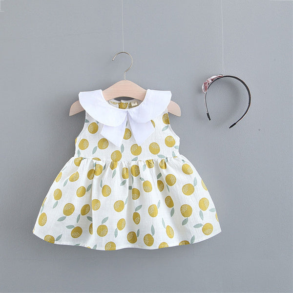 Peach Printed Doll Collar Summer Dress