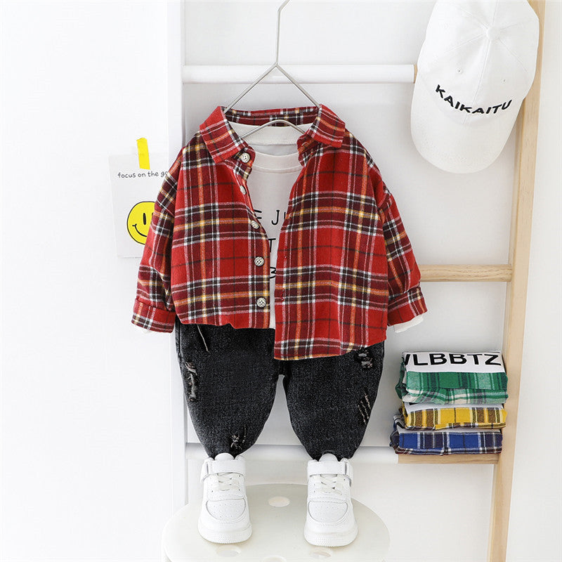 Checks Shirt And Denim Set