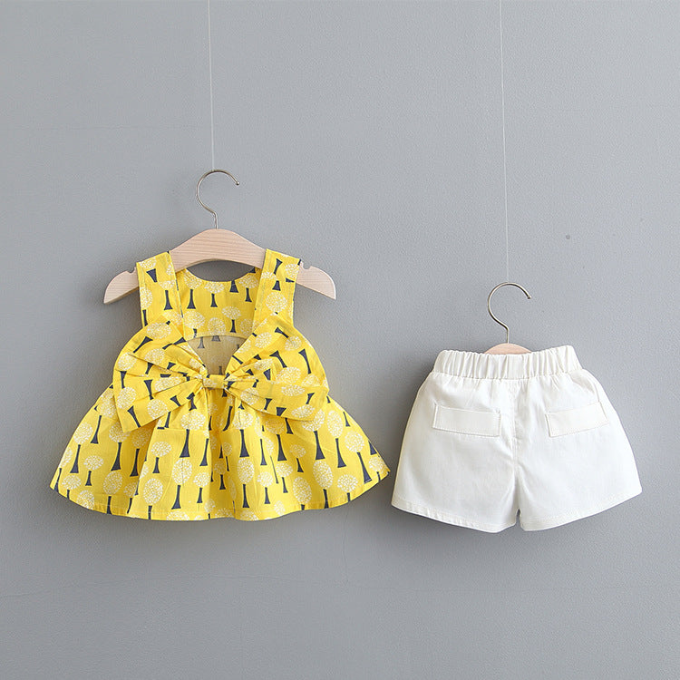 Tree Printed Bow Knot Top And Shorts Set