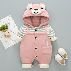 Striped Bear Hooded Winter Jumpsuit