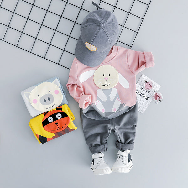 Animal Made Velcro Patch Sweatshirt Baby Set